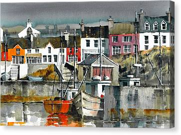 Baltimore Harbour Cork Canvas Print by Val Byrne