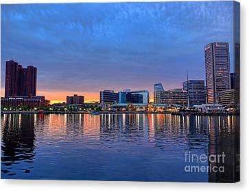 Baltimore Inner Harbor At Dusk Canvas Print