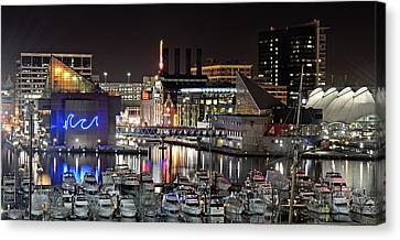 Baltimore Inner Harbor At Night Canvas Print by Brendan Reals