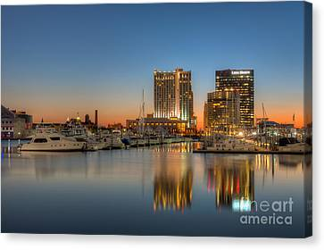 Baltimore Inner Harbor East Skyline At Dawn I Canvas Print by Clarence Holmes