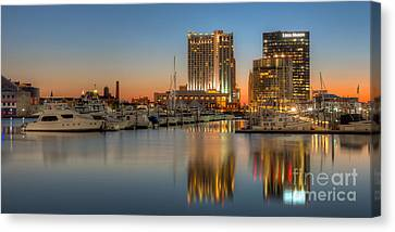 Baltimore Inner Harbor East Skyline At Dawn Panoramic I Canvas Print by Clarence Holmes