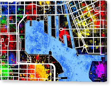 Baltimore Inner Harbor Map Canvas Print by Stephen Younts