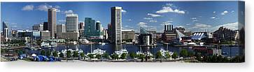 Baltimore Inner Harbor Panorama Canvas Print by Bill Swartwout