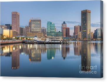 Baltimore Inner Harbor Skyline At Dawn I Canvas Print by Clarence Holmes