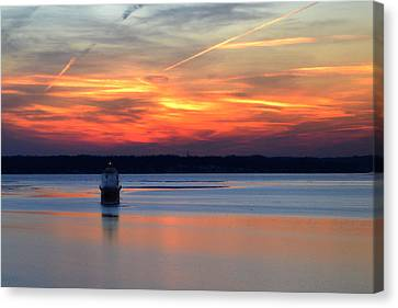 Canvas Print featuring the photograph Baltimore Light At Gibson Island by Bill Swartwout
