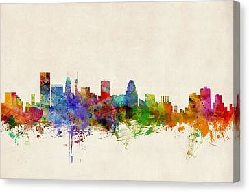 Maryland Canvas Print - Baltimore Maryland Skyline by Michael Tompsett