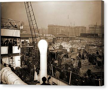Baltimore, Maryland, Unloading Banana Steamer, Harbors Canvas Print by Litz Collection