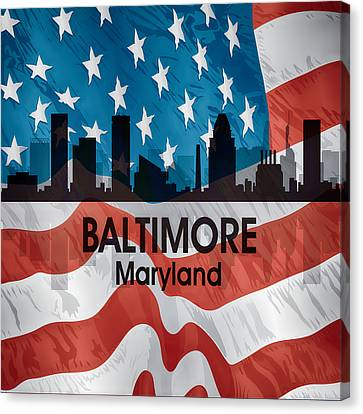 Baltimore Md American Flag Squared Canvas Print