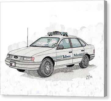 Baltimore Police Car Canvas Print by Calvert Koerber