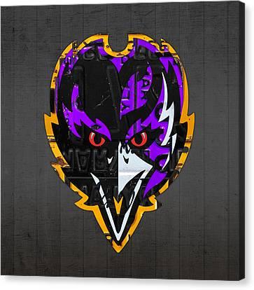 Team Canvas Print - Baltimore Ravens Football Team Retro Logo Maryland License Plate Art by Design Turnpike