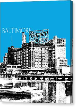 Baltimore Skyline Domino Sugar - Ice Blue Canvas Print by DB Artist