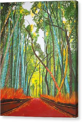 Bamboo Fence Canvas Print - Bamboo by Denise Morgan