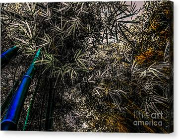 bamboo III - blue - yellow Canvas Print by Hannes Cmarits