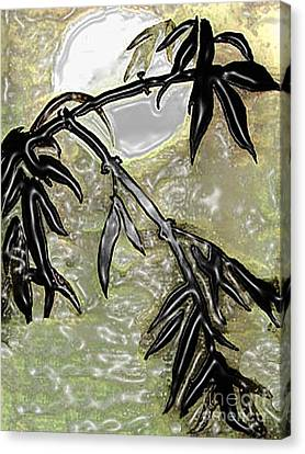 Bamboo In Moonlight - Plasticized    Canvas Print by Merton Allen