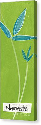 Bamboo Namaste Canvas Print by Linda Woods