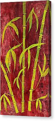 Bamboo On Red Canvas Print by Bellesouth Studio