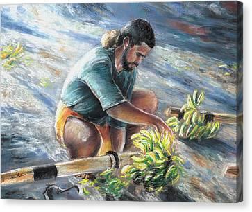 Banana Carryer In Tahiti 02 Canvas Print by Miki De Goodaboom