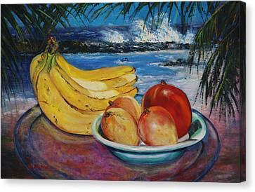 Bananas And Mangoes At Jobo Beach Isabela Canvas Print by Estela Robles