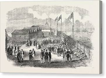 Band Of The 3rd French Regiment Playing In H Canvas Print