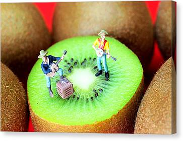 Band Show On Kiwi Fruits Little People On Food Canvas Print by Paul Ge