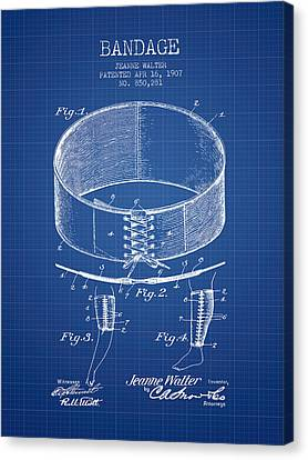 Bandage Patent From 1907 - Blueprint Canvas Print by Aged Pixel