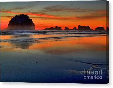 Bandon Foggy Fire Canvas Print by Adam Jewell