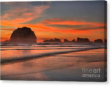 Bandon Sunset And Surf Canvas Print by Adam Jewell