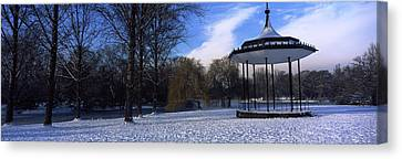 Bandstand In Snow, Regents Park Canvas Print by Panoramic Images