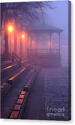 Bandstand In The Fog Canvas Print by Jeff Dalton
