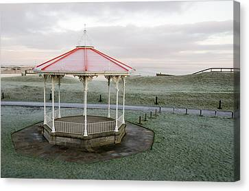 Canvas Print featuring the photograph Bandstand In Winter by Jeremy Voisey