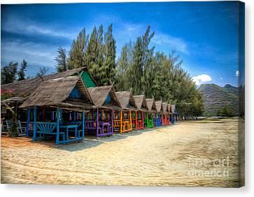 Bang Pu Beach Huts Canvas Print by Adrian Evans