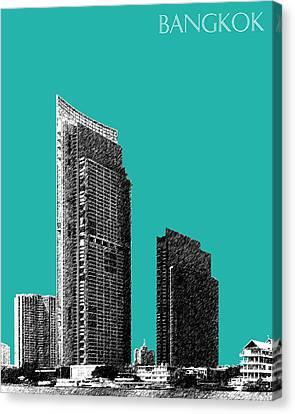Bangkok Thailand Skyline 3 - Teal Canvas Print
