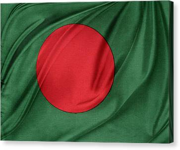 Bangladesh Flag Canvas Print by Les Cunliffe