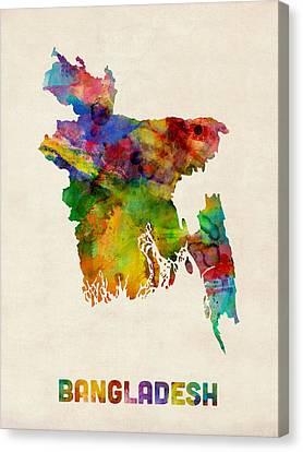 Bangladesh Watercolor Map Canvas Print by Michael Tompsett