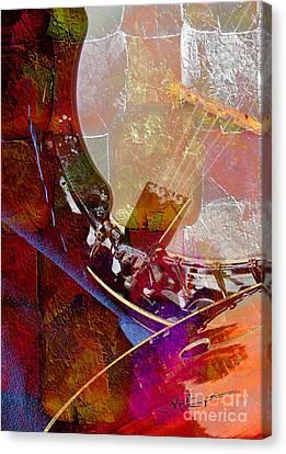 Banjo And Friend Digital Banjo And Guitar Art By Steven Langston Canvas Print by Steven Lebron Langston