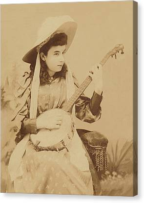 Banjo Girl 1880s Canvas Print