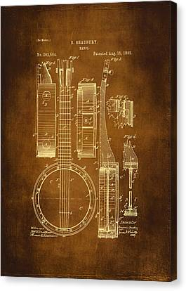 Banjo Patent Drawing - Antique Canvas Print by Maria Angelica Maira