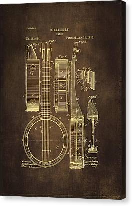Banjo Patent Drawing - Brown Canvas Print by Maria Angelica Maira