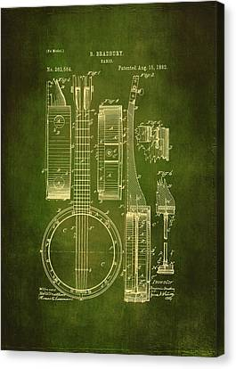 Banjo Patent Drawing - Green  Canvas Print by Maria Angelica Maira