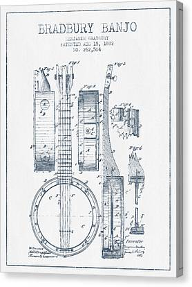 Banjo Patent Drawing From 1882 - Blue Ink Canvas Print by Aged Pixel