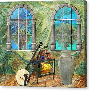 Canvas Print featuring the mixed media Banjo Room by Ally  White