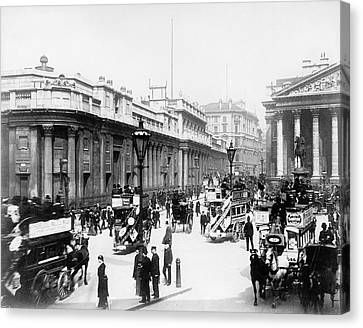Bank Junction Horse-drawn Traffic Canvas Print by Library Of Congress