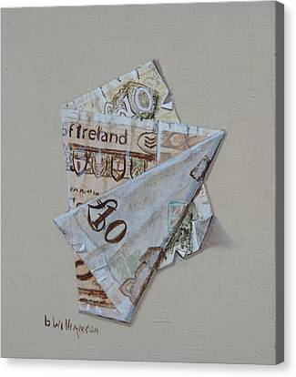 Canvas Print featuring the painting Bank Of Ireland Ten Pound Banknote by Barry Williamson