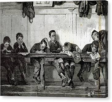 Bank Of Punished In A School Canvas Print by Prisma Archivo