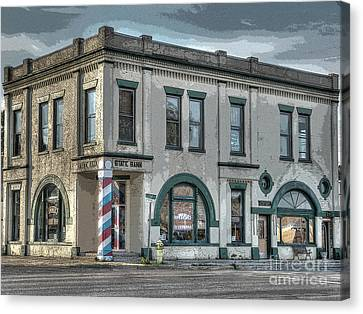 Bank To Barbershop Canvas Print
