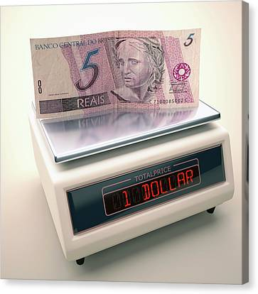 Banknotes Canvas Print - Banknote On Scales by Ktsdesign