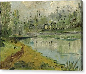 Banks Of The Saone River - Orig. Sold Canvas Print by Bernard RENOT