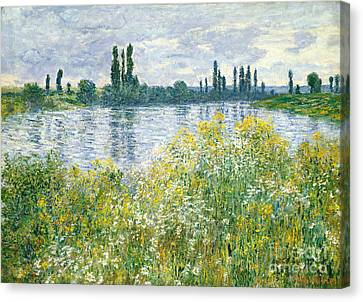 Banks Of The Seine Vetheuil Canvas Print by Claude Monet