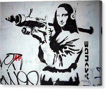 Banksy Canvas Print - Banksy Mona Lisa With Rocket Launcher by Graffiti Street Art