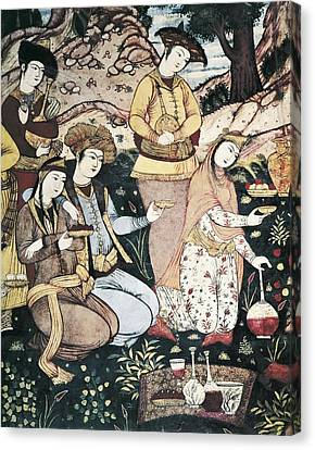Women With Wine Canvas Print - Banquet Of Abbas I. 17th C. Iran by Everett